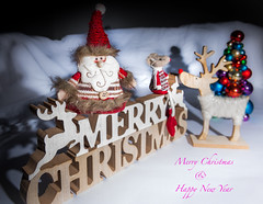 """""""Merry Christmas to All, and hope for a great New Year..."""" (Ian Johnston LRPS) Tags: red christmas card rudolf reindeer words snow mouse 2019 tabletop beard greetings"""