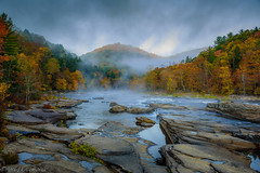Youghiogheny River at Ohiopyle (clare j kaczmarek) Tags: youghiogheny river ohiopyle state park rivers fog autumn fall rocks clouds