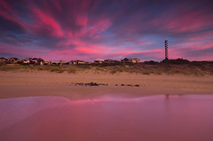 Rose-tinted (snowyturner) Tags: sky landscape lighthouse bunbury australia beach reflections pink sunset twilight sand dunes buildings