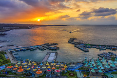 富基漁港 / Sunset @ Fuji fishing port, New Taipei City,Taiwan (Jennifer 真泥佛 * Taiwan) Tags: sunset 富基漁港 drone dji m2p 新北市 石門區 北海岸 夕陽 日落 老梅 漁港
