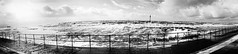 Surge (PJT.) Tags: burbo bank crosby merseyside tide water sea front promenade railing cast iron wave waves irish marker shipping tanker wirral wales windfarm offshore silhouette bw panoramic sun flare