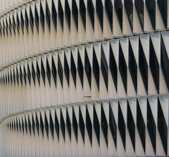 Pattern (iammattdoran) Tags: pattern abstract graphic detail modern architecture architect building cladding stadium soccer football bilbao close wavy design optic black white photography street city spain