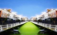 Green Mile (beelzebub2011) Tags: netherlands holland delft canal street algae mirrorimage cyclist
