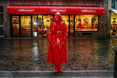 Red mask (kleppertomanie) Tags: klepper raincoat rainwear mask maske hood wellies gummistiefel boos