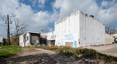 Lone Star - Soon To Be History (-Dons) Tags: austin panorama texas unitedstates streetart tx usa lonestarfoodservice abandoned graffiti utilitypole cloud sky