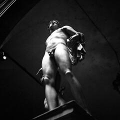 Orpheus and Cerberus - Palazzo Medici Riccardi (Florence) - October 2019 (cava961) Tags: florence palazzomediciriccardi analogue analogico monochrome monocromo bianconero bw 6x6 mamiya6 superpan200