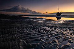 Before Sunrise (daveknight1946) Tags: essex eastbeach shoeburyness riverthames boat sunrise water mud
