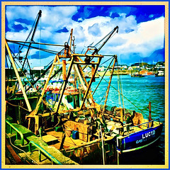 Lucy.D (Julie (thanks for 9 million views)) Tags: hss sliderssunday stuffonships fishingboat vessel kilmorequay ireland irish sea water industry prismaapp hipstamaticapp blue bluesky clouds postprocessed squareformat colourful nets