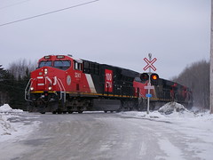 Ennishore,NB (MaineTrainChaser) Tags: cn west westbound trains train 121 quebec new brunswick