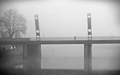 cross the river (O.Krüger) Tags: niedersachsen deutschland hameln brücke bridge streetphotography sw schwarzweis socialdocumentary streetlife silhouette bw bianconero blackwhite fluss river peopleinthecity people personen monochrom urban urbanexploration streetpassionaward