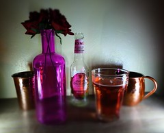(Chris Hester) Tags: 85p angry orchard cider bottle glass copper mug cup vase purple red roses