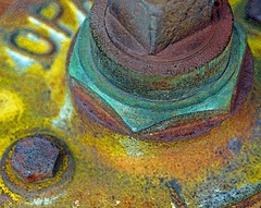 Rough cast (L@nce (ランス)) Tags: metal cast brass bolt rust rusty painted open macro micro nikkor nikon canada britishcolumbia victoria jamesbay