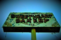 Sweetheart Bakery (SCOTTS WORLD) Tags: adventure america angle artwork sky sign fun fall november neon bakery michigan midwest motown motorcity morning panasonic pov perspective urban usa unitedstates urbex urbanexploring urbandecay decay lights rusty crusty vignetting detroit