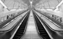 Holborn London Underground Station - without people. (Scott Mundy) Tags: holborn london underground station escalators without people no empty black white monochrome bw symmetry symmetrical perspective geotagged lu metro subway passengers customers steps handrails silver metal metallic strip lighting lights cctv cameras adverts advertisments
