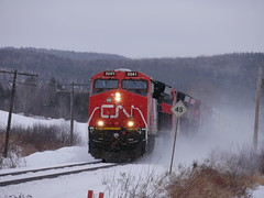 Cyr St. Baker Brook,NB (MaineTrainChaser) Tags: cn west westbound trains train 121 quebec new brunswick