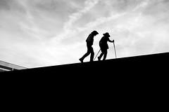 Urban Hiking (maekke) Tags: zürich silhouette hiking enge stairs highcontrast streetphotography fujifilm x100f 35mm bw noiretblanc 2019 ch switzerland freudenberg