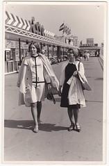 """scan van oude foto (±1964) """"When I was young"""" (José D...) Tags: memyselfandi oldphotos 19631964 scheveningen thehague thenetherlands denhaag depier opdepier depiervanscheveningen homemade dress jurk when iwasyoung"""