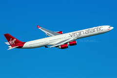 Virgin Atlantic G-VWEB 23-2-2019 (Enda Burke) Tags: avgeek aviation airplane airport av8 aero airbus a340 airbusa340600 airbusa340 canon canon7dmk2 egll lhr london londonheathrow heathrow gvweb feltham felthampark travel takeoff taxiing virgin virginatlantic virginholidays
