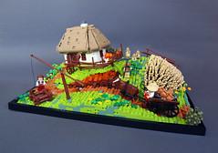 Chumaks in a Khutir (Dwalin Forkbeard) Tags: lego moc ukrainian village medieval harvesting house
