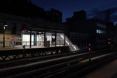 Marcy Avenue (Blinking Charlie) Tags: marcyavenue williamsburg brooklyn newyorkcity nyc newyork usa 2019 sonydscrx100m3 blinkingcharlie dusk gloaming afterglow mta subway elevated el jmz platform signals turnstiles