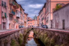 Via del Fosso (RobMenting) Tags: building old reflection city water via town tourism italy lucca canal tuscany street sky travel pavement house shutterstock architecture outdoors fosso europe narrow traditional houses