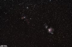 Orion, Flame and Horse Head Nebulae (AstroBeard) Tags: astro astrophotography astronomy stars space skyatnight night sky constellation orion nebula flame portland dorset belt sword canon deep stacker m42 ngc2024 ngc 2024 stack skywatcher staradventurer bill carl zeiss jena 135 horse head messier barnard 33 astrometrydotnet:id=nova3781160 astrometrydotnet:status=solved