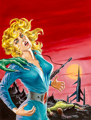 """Desire Woman, Super-Science Fiction, June 1957, cover by Ed """"EMSH"""" Emshwiller (gameraboy) Tags: desirewoman supersciencefiction june 1957 cover edemshwiller emsh 1950s painting woman art illustration vintage scifi sciencefiction"""