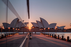 Sunrise behind Sails (Jared Beaney) Tags: canon6d canon travel photography photographer sydney australian newsouthwales operahouse sunrise parkhyattsydney circularquay sydneyharbour reflections reflection shadows city