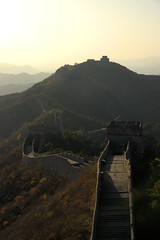 The Wall 金山岭 (gooey_lewy) Tags: great wall china sun setting location meandering hill side fortification autumn colours colors color colour jinshanling simplified chinese 金山岭 portrait set organe orange light top garrison almost deserted forest trees countryside country