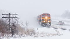 KCS 5002 at Hamel (shawn_christie1970) Tags: medina minnesota unitedstatesofamerica hamel plow mndot snow whiteout blizzard winter kcs kcs5002 grain cp380 ge et44ac hwy55 mn55 railroad train cppaynesvillesub canadianpacificrailway kansascitysouthern cpr cp codeline