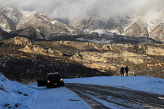 (photography by Derek G) Tags: winter storm snow wilderness mountains sun light shadow landscape road snowy cold warm icy ice shade shadowy figures people watching together couple view silhouette