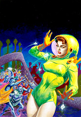 Alternate Universe, Super-Science Fiction, August 1957, cover by Frank Kelly Freas (gameraboy) Tags: alternateuniverse supersciencefiction august 1957 cover frankkellyfreas 1950s painting art illustration vintage scifi sciencefiction woman astronaut alien kellyfreas