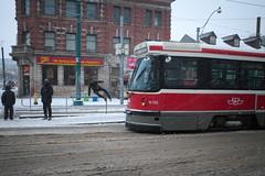 TTC CLRV 4100 (Vic Gedris) Tags: ttc clrv streetcar tram trolly queen west toronto ontario canada publictransit snow winter jump 501 4100 torontotransitcommission