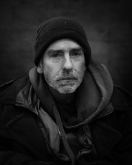 Shawn (mckenziemedia) Tags: man portrait portraiture homeless homelessness streetphotography street chicago city urban hat stockingcap blackandwhite monochrome people humanity