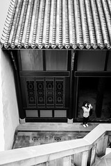 Sniper (Go-tea 郭天) Tags: chongqing républiquepopulairedechine woman young alone lonely portrait phone mobile cell cellular cellphone shoot shooting picture photo lady mask masked roof stairs steps up down top lines traditional tradition history historical historic ancient building construction street urban city outside outdoor people candid bw bnw black white blackwhite blackandwhite monochrome naturallight natural light asia asian china chinese canon eos 100d 24mm prime