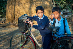 Students on the way home from school. (Goran Bangkok) Tags: nepal students chitwan street streetphotography daytime boys countryside