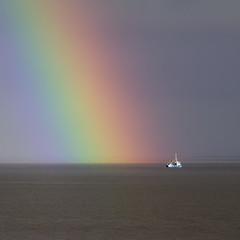 The Rainbow (g_heyde) Tags: rainbow regenbogen elbeestuary elbmündung elbe fishingboat cuxhaven sl2