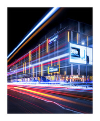 The Barcode (Rich Walker Photography) Tags: lighttrails light bus building plymouth devon night nightshot nighttime nightlights road traffic canon england efs1585mmisusm eos eos80d longexposure longexposures longexposurephotography