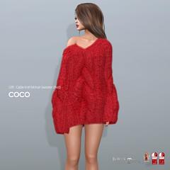 COCO Holiday Gift @Fameshed (cocoro Lemon) Tags: coco holiday gift fameshed cableknit mohair sweater secondlife fashion mesh maitreya belleza slink legacy