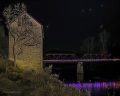 Starry Night & Holiday Lights at the Motor Mill (jackalope22) Tags: mill night le longexposure motormill iowa elkader christmas lights stars