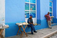 Sidewalk Cakes (emerge13) Tags: cuba trinidaddecuba trinidadsanctispirituscuba colorfulcities humans street walls blue 31°c candid people