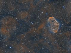 NGC 6888 - The Crescent Nebula with the Soap Bubble Nebula (Antoine Grelin) Tags: soap bubble nebula astrophotography crescent ngc6888 6888 ngc ju1 cygnus sadr astronomy astrophotographie astrograph asi1600mm orion astrometrydotnet:id=nova3780756 astrometrydotnet:status=solved