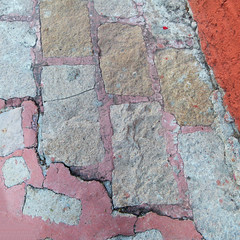 """step on a crack, break your mother's back"" (msdonnalee) Tags: sidewalkdetail sidewalkstone abstractreality abstract abstrait abstrakt photosfromsanmigueldeallende crack"