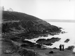 On the rocks at Church Bay, Weavers Point. Crosshaven. (National Library of Ireland on The Commons) Tags: ferguso'connor ferguso'connorcollection glassnegative nationallibraryofireland seaside rocks steps strawboater lady gentlemen churchbay cork cocork munster weaverspoint crosshaven