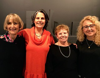 Artist Tina Spiro with Atchugarry Center's manager Mariana Azpurua, curator Carol Damian and artist Annette Turrillo at Atchugarry Art Center in Little Haiti during the Progressive Art Brunch.