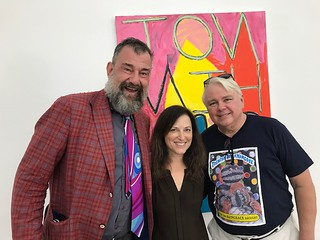 Curator Bill Arning, Mindy Solomon and Oolite Director Dennis Scholl at Mindy's Gallery in the Little River arts District during the Progressive Art Brunch