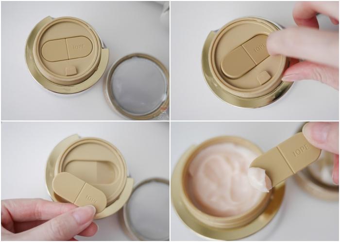 IOPE黃金霜(時光金鑰緻顏修護霜)的凹槽設計很貼心,讓挖勺有一個家