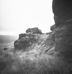 Bridestones Moor (Richie Rue) Tags: landscape moorland moors yorkshire northern rocks stones grass pinhole lensless ilfordpanf50 rodinal mediumformat square 6x6 120 mindfulphotography contemplativephotography film analogue bnw bw outdoors
