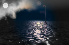 Two moons (Ladmilla) Tags: light lamp moons reflection water sea boats paperboats sky clouds shadows poem poet poetry text literature textured texturized landscape sl secondlife nature photo picture theedgeartgallery exhibition art digitalart artexhibition artistry