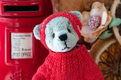 Dear Santa... (hehaden) Tags: bear teddybear miniature jumper headband postbox macro macromondays red sel90m28g